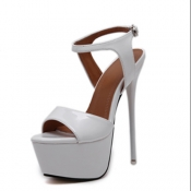 Trendy Pointed Peep Toe Hollow-out Stiletto Super High Heel White PU Pumps
