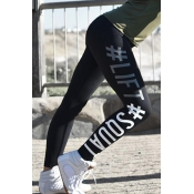 Casual High Waist Letters Printed Black Cotton Leggings