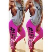 Casual alta cintura letras impressas rosa algodão leggings