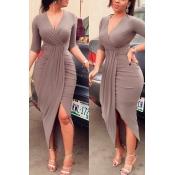 Stylish V Neck Half Sleeves Asymmetrical Brown Polyester Sheath Mid Calf Dress