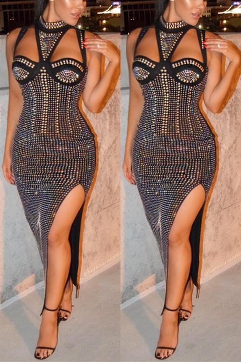Sexy V pescoço sem mangas de alta fenda preto tecido saudável bainha tornozelo comprimento vestido