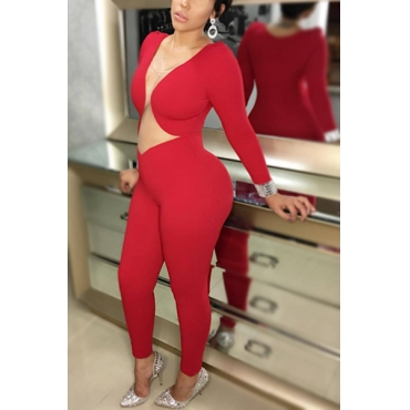 Sexy Long Sleeves Hollow-out Red Polyester One-piece Jumpsuits