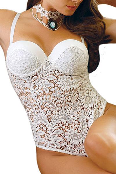 Strap espaguete sexy mangas patchwork de renda branco macacões de uma peça
