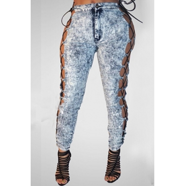 Sexy High Waist Lace-up Hollow-out Blue Denim Jeans