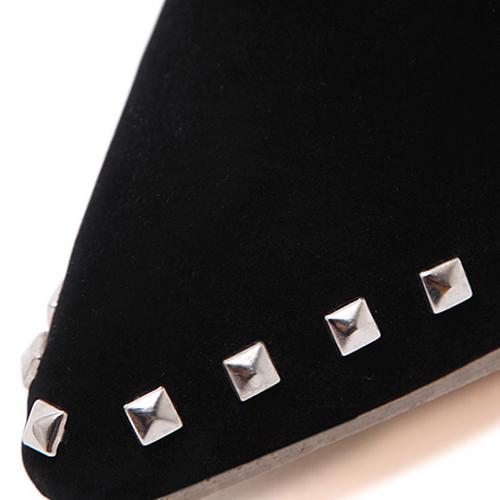 модный указал закрытым носком заклепок декоративный стилет супер высокой пятки черные замшевые короткие сапоги заклепки
