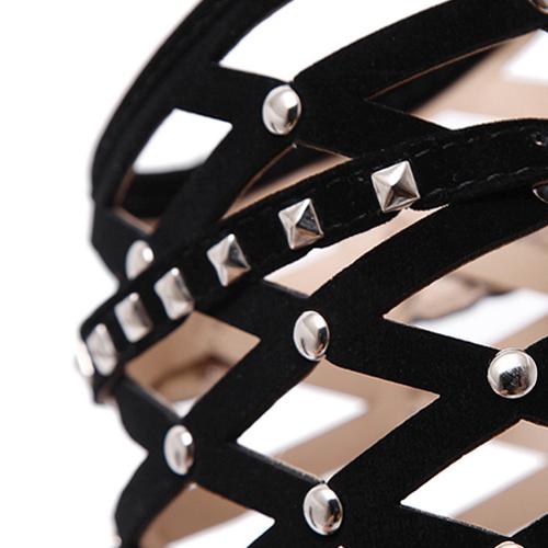 Trendy Pointed Closed Toe Rivet Decorative Stiletto Super High Heel Black Suede Short Rivets Boots