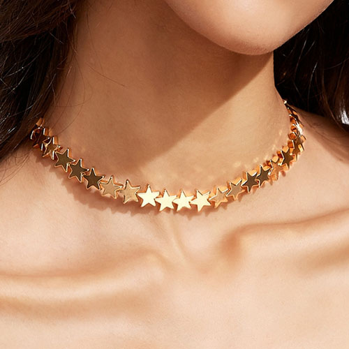 Fashion Five-pointed star Decoration Gold Metal Necklace