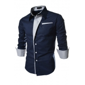 Stylish Turndown Collar Long Sleeves Patchwork Navy Blue Cotton Shirts