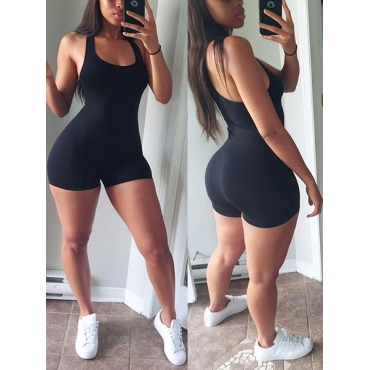 Slimming U-shaped Neck Sleeveless Backless Black Polyester One-piece Jumpsuits