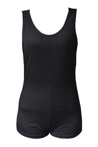 Slimming em forma de U Neck mangas Backless Preto Polyester uma peça Macacões