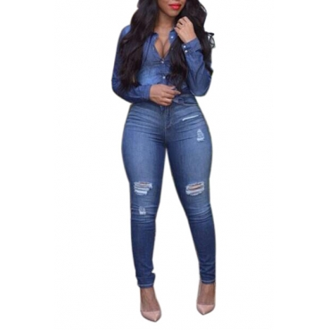 Stylish Turndown Collar Long Sleeves Button Design Blue Denim Two-piece Pants Set