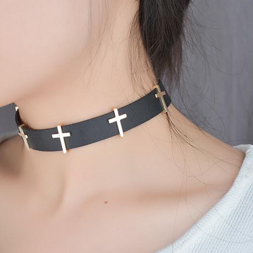 Fashion Cross Decoration Black Punk Metal Necklace