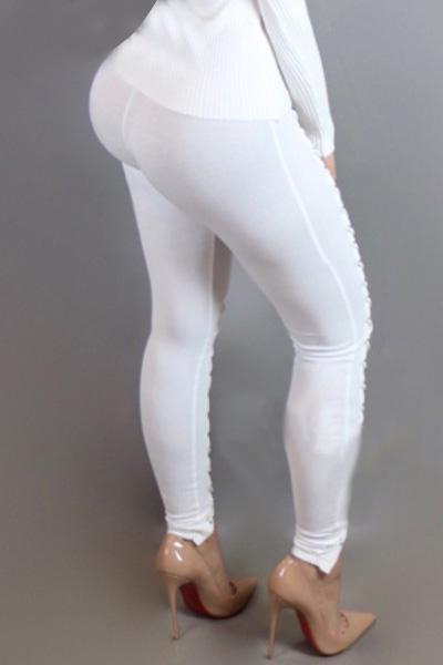 Sexy высокой талией полым из белый полиэстер поножи