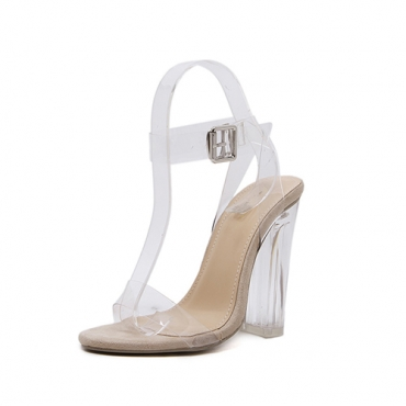 Elegante dedo puntiagudo Hollow-out Stiletto Super High Heel Albaricoque PU Sandalias