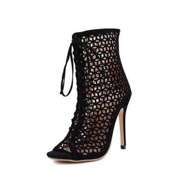 Elegante punta Peep Toe Lace-up Hollow-out Stiletto Super High Heel Negro Suede Tobillo Correa Sandalias