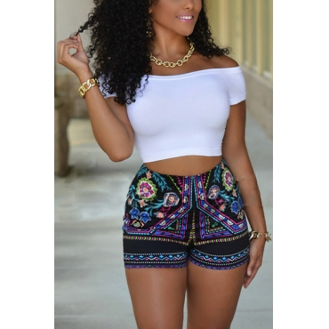 Casual Bateau Neck Short Sleeves Printed White Polyester Two-piece Shorts Set