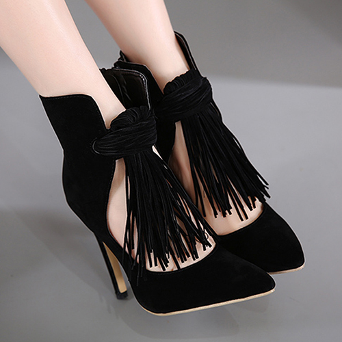 Spring Autumn Suede Pointed Toe Stiletto Super High Zipper Ankle Tassel Fashion Boots