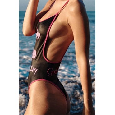 Sexy Euramerican Spaghetti Strap Printed Backless Black Ployester One-piece Swimwear