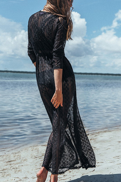 Stylish Long Sleeves See-Through Black Lace Cover-Ups