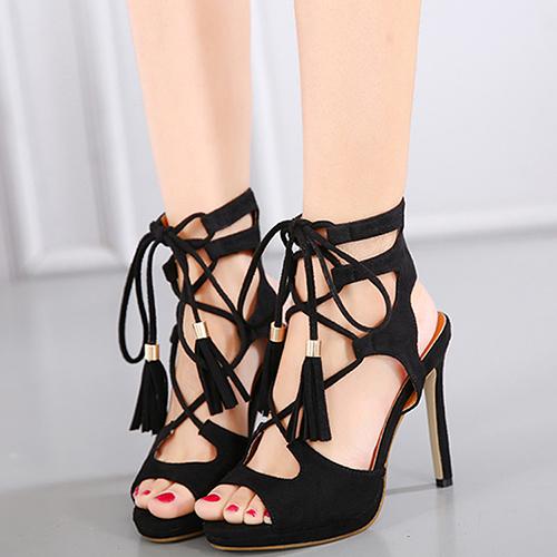 Suede Stiletto Super High Fashion Cross Strap Sandals