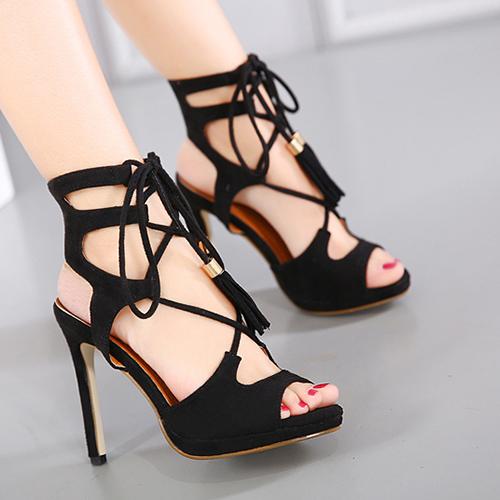Suede Stiletto Супер высокой моды Креста ремень сандалии