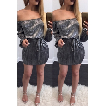 Polyester Sexy Bateau Neck Long Sleeve Mini Dresses