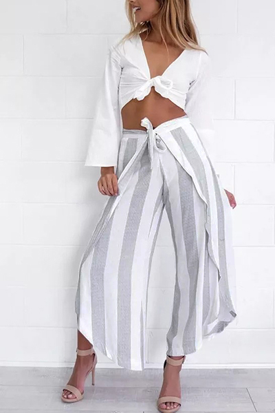 Polyester striped high loose pants pants bottoms for Suelto blanco suelto barato