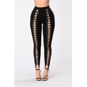 Stylish High Waist Hollow-out Black Polyester Legg