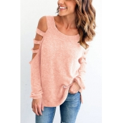 Leisure Round Neck Long Sleeves Hollow-out Pink Polyester T-shirt