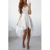 Lace Bohemian V Neck Spaghetti Strap Sleeveless Dresses