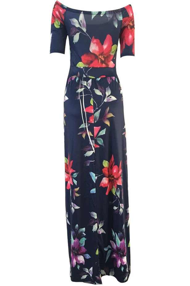Stylish Half Sleeves Floral Print Qmilch Floor length Dress