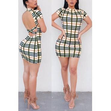 Sexy mandarin col manches courtes plaids backless qmilch gaine mini robe