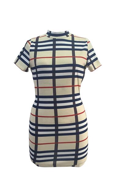 Sexy Mandarin Collar Short Sleeves Plaids Backless Qmilch Sheath Mini Dress