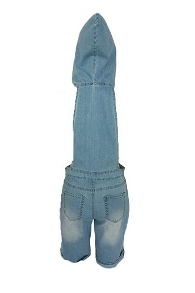 сексуальные капюшоном воротник короткий рукав полым из синий деним цельный свободные комбинезоны