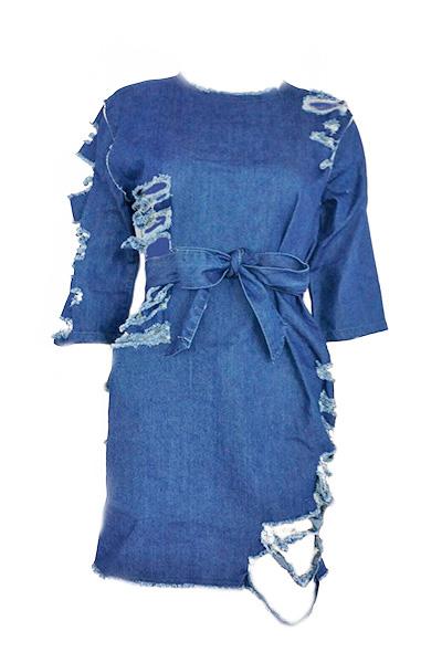 Fashion Round Neck Short Sleeves Broken Holes Blue Denim Mini Dress