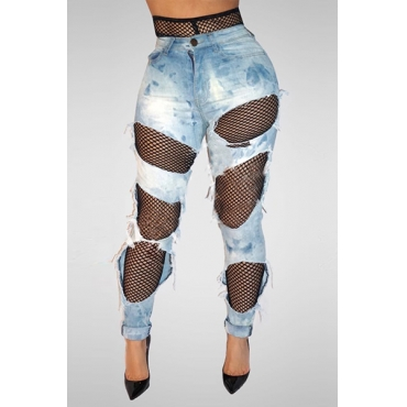 denim Solid Button Fly High Regular Pants Jeans