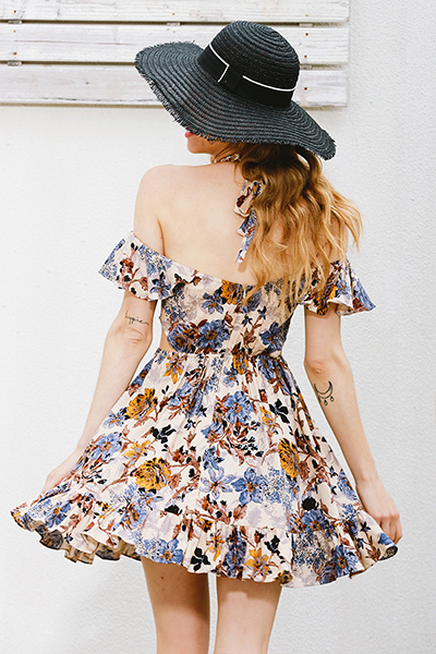 Cotton Bohemian Bateau Neck Short Sleeve A Line Mini Dresses