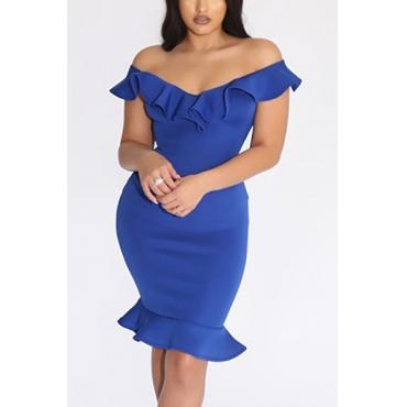 Carismático cuello en V mangas cortas Falbala diseño azul vestido de poliéster longitud de la rodilla
