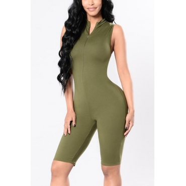 Contracted Style V Neck Sleeveless Green Knitting One-piece Skinny Jumpsuits