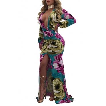 Sexy Deep V Neck Long Sleeves Printed High Split Pink Healthy Fabric Floor Length Dress