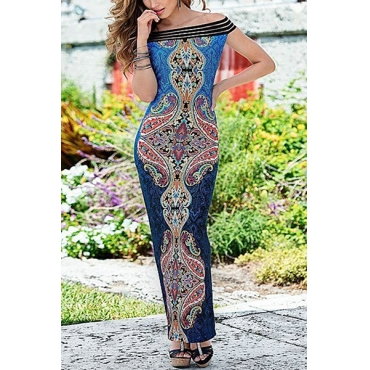 Euramerican Bateau Neck Sleeveless Printed Blending Ankle Length Dress