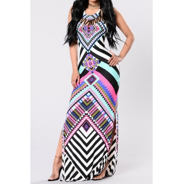 Polyester Fashion O neck Sleeveless Ankle Length Dresses