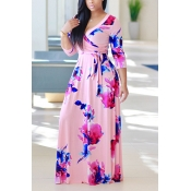 Moda V Neck Três mangas trimestre Floral Imprimir rosa saudável tecido vestido de comprimento do assoalho