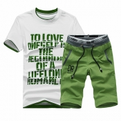 Pullovers Cotton Blends O Neck Short Sleeve Letter Men Clothes