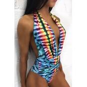 Sexy Deep V Neck Sleeveless Print Backless Polyester One-piece Swimwear