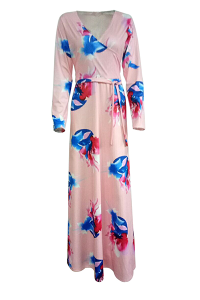 Fashion V Neck Three Quarter Sleeves Floral Print Pink Healthy Fabric Floor Length Dress