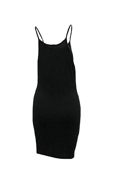 Повседневная круглая шейная планка с бретельками без рукавов Буквы с черным полиэстеровым мини-платьем