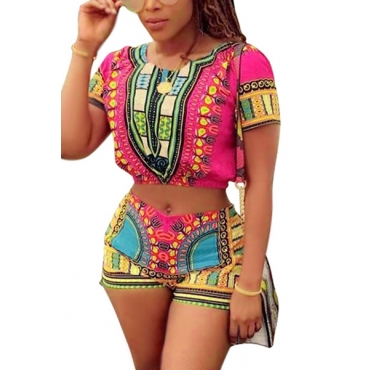 Ethnic Style Round Neck Short Sleeves Printed Qmilch Two-piece Shorts Set