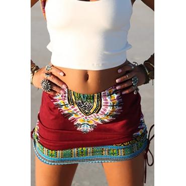Stile Etnico elastico in vita Stampato cotone rosso Miscela Minigonne