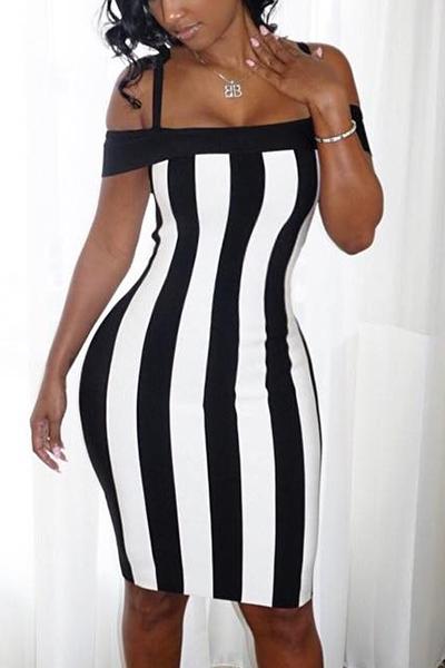 Sexy Bateau pescoço mangas preto-branco patchwork saudável tecido bainha vestido do joelho